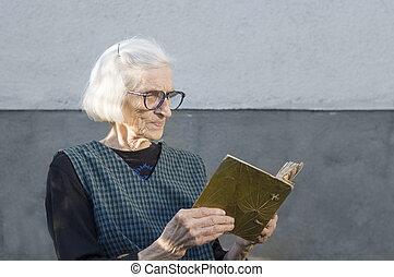 アルバム, 写真, 見る, 家族, 祖母