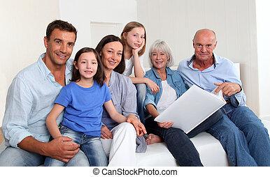 アルバム, 写真, 3-generation, 見る, 家族