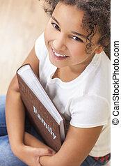 アルバム, 写真, african american, 本, 子供, 女の子