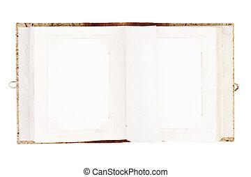 アルバム, 古い, 写真, 隔離された, 写真, 場所, 開いた, あなたの
