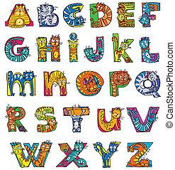アルファベット, ねこ