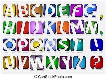 アルファベット, カラフルである, オリジナル