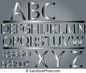 アルファベット, スタイル, 金属