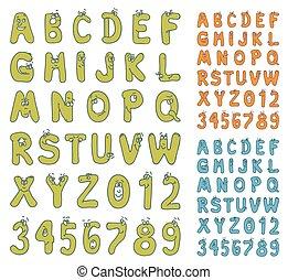 アルファベット, セット, 漫画, 数