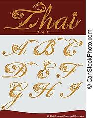 アルファベット, タイ人, セット, calligraphic