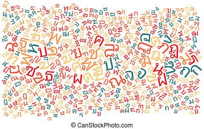 アルファベット, タイ人, 手ざわり, 背景