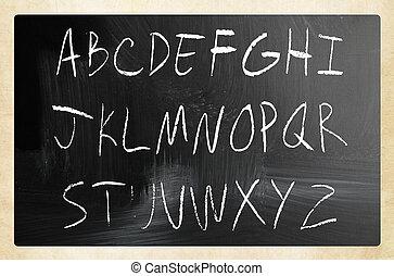 アルファベット, チョーク, 黒板, 英語, 白, 手書き