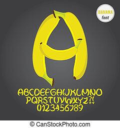 アルファベット, ディジット, ベクトル, バナナ, 黄色
