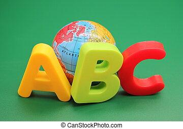 アルファベット, バックグラウンド。, 地球, 緑, 手紙, 英語, おもちゃ, 最初に, abc-the, 小さい