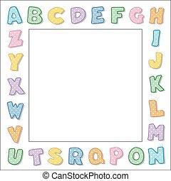 アルファベット, フレーム, ボーダー, パステル