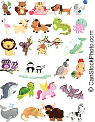 アルファベット, ベクトル, セット, 動物