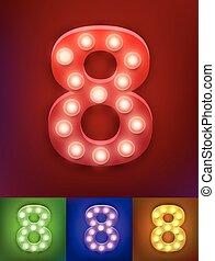 アルファベット, ベクトル, 古い, ショー, 型, 数, イラスト, typography., 現実的, ランプ, vegas, ライト, board., 8