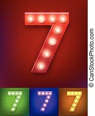 アルファベット, ベクトル, 古い, ショー, 型, 数, イラスト, typography., 現実的, ランプ, vegas, 7, ライト, board.