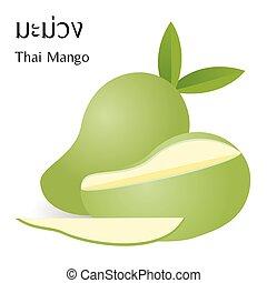アルファベット, マンゴー, 意味, ベクトル, 背景, 成果, タイ人, 白