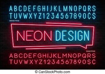 アルファベット, 余分, ライト, ネオン, 1, 現実的, 白熱, 2, font.