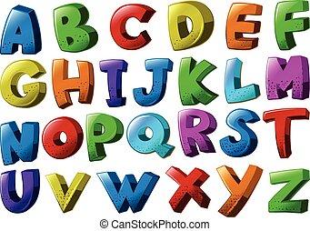 アルファベット, 別, 壷, 色, 英語