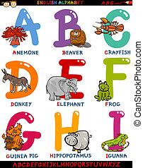 アルファベット, 動物, 漫画, 英語