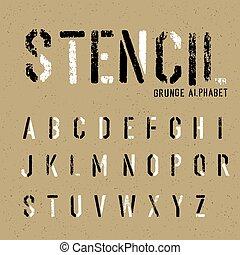 アルファベット, 型板, グランジ