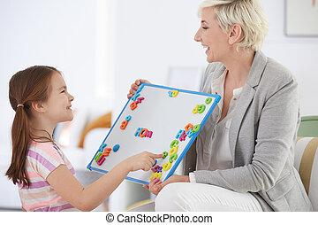 アルファベット, 女の子, 勉強, 家庭教師