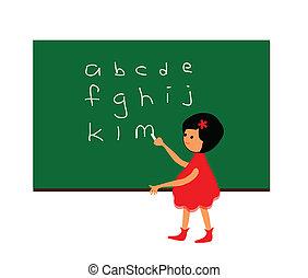 アルファベット, 女の子, 勉強