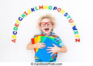 アルファベット, 子供, 手紙, 勉強, 読書