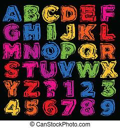 アルファベット, 引かれる, nu, カラフルである, 手