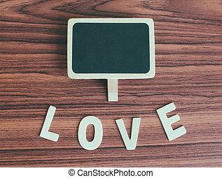 アルファベット, 愛, 黒板, 木, 効果, フィルター, レトロ, ブランク