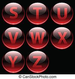 アルファベット, 手紙, グロッシー, 赤, (s-z)