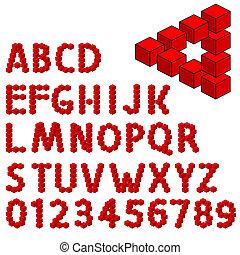 アルファベット, 抽象的, 3, 錯覚, 光学, 次元, set.