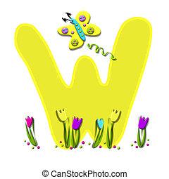 アルファベット, 持つ, 飛びかかった, w, 春