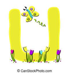 アルファベット, 持つ, u, 飛びかかった, 春