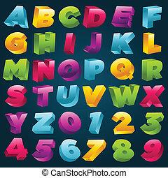 アルファベット, 数, カラフルである, 3d