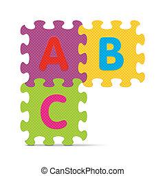 アルファベット, 書かれた, abc, 困惑