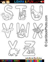 アルファベット, 着色, 動物, 漫画