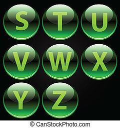 アルファベット, 緑, グロッシー, 手紙, (s-z)