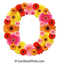 アルファベット, 隔離された, ほんの少し, 花, o