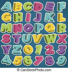 アルファベット, 3d, レトロ, 数