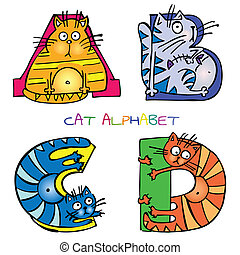 アルファベット, c, b, d, ねこ