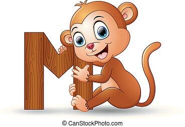 アルファベット, m, サル, 漫画