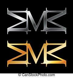 アルファベット, m, 銀, 金, ロゴ