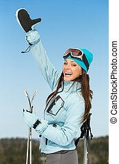 アルプス, の上, ヒッチハイクすること, 女性, 肖像画, 半分長さ, スキーヤー