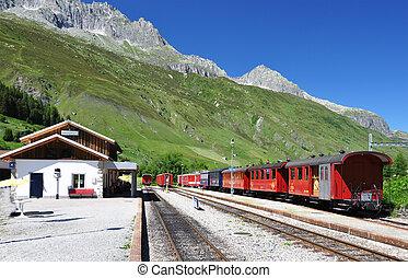 アルプス, スイス人, staion, 列車, 古い
