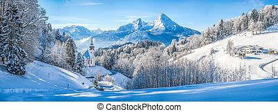 アルプス, 冬, bavaria, ババリア人, ドイツ, 教会, 風景