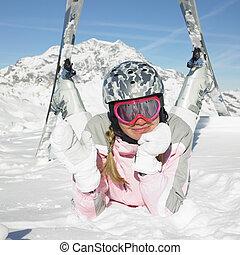 アルプス, 女, スキーヤー, フランス, 山, savoie