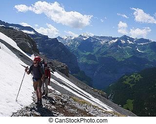 アルプス, 山, grindelwald, ピークに達する, フィート, 登山家, moench, スイス人, eiger, ヘッディング