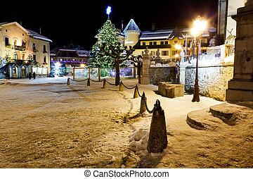 アルプス, 広場, 中央である, 照らされた, 木, フランス語, megeve, クリスマス