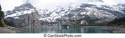 アルプス, panorama., -, 湖の海岸, oeschinensee, スイス