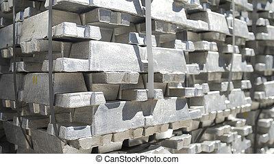 アルミニウム, インゴット, foundry., 植物, billets, プロフィール, 金属, 生産, metallurgical