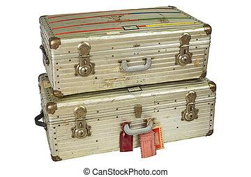 アルミニウム, 飛行, スーツケース, 型, 隔離された, 白