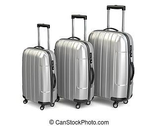 アルミニウム, baggage., スーツケース, 隔離された, バックグラウンド。, 白